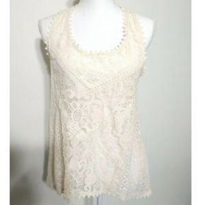Lace Front Tank Top Racerback Sheer Shell Cream M